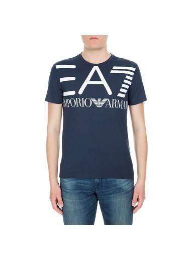 EA7 Emporio Armani Ea7  3Gpt06 Pj02Z 1 Bisiklet Yaka Büyük Marka Logo Baskılı Pamuk Erkek Tshirt Lacivert